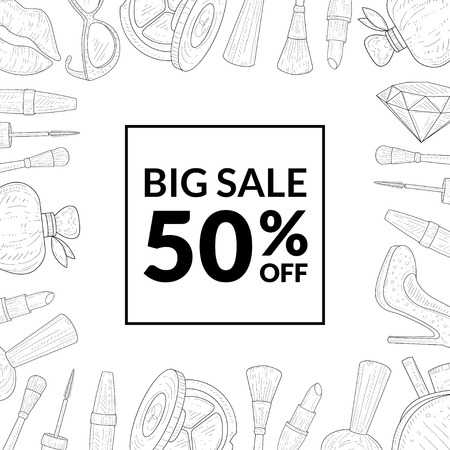 Big Sale Special Offer Banner Template, Sale with 50 Percent Off, Woman Fashion and Beauty, Makeup Products, Cosmetics Vector Illustration on White Background. Standard-Bild - 122831847