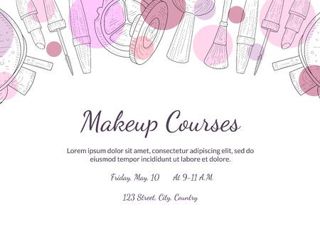 Modèle de bannière de cours de maquillage avec place pour votre texte, élément de conception pour flyer, carte-cadeau, coupon, illustration vectorielle de brochure Vecteurs