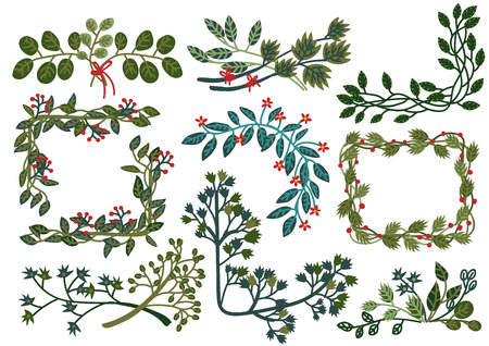 Collection of Green Leaves Wreaths, Natural Design Elements Can Be Used for Wedding Invitations, Save the Date, Greeting Cards, Posters, Quotes Vector Illustration on White Background. Illustration