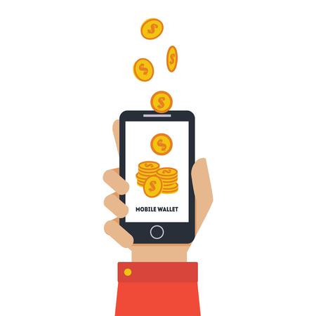 Portafoglio mobile digitale, mano che tiene smartphone, trasferimento di denaro wireless, persone che inviano e ricevono denaro con illustrazione vettoriale del telefono cellulare su sfondo bianco.