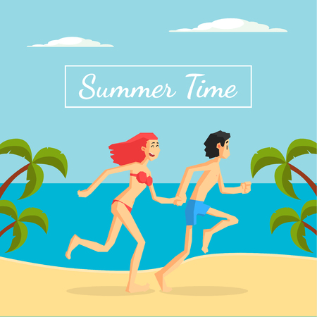 Summer Time Banner Template, Happy Young Couple Running on Tropical Beach Vector Illustration, Cartoon Style.