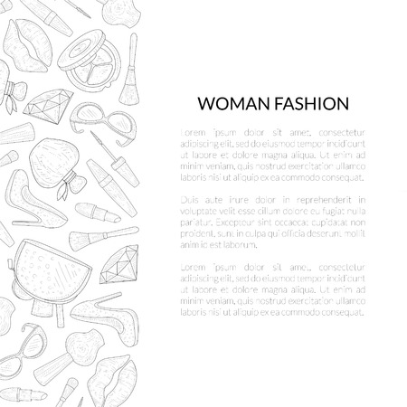 Woman Fashion Banner Template with Place for Text, Female Beauty Elements, Makeup Products, Cosmetics Hand Drawn Vector Illustration on White Background.