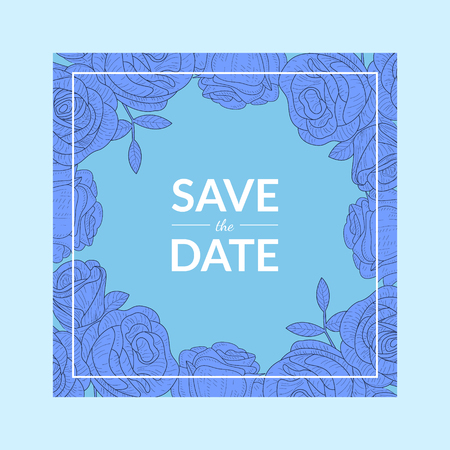 Save The Date Blue Invitation Card Template with Flowers Vector Illustration, Web Design