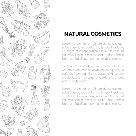 Natural Cosmetics Banner Template with Place for Your Text, Eco Organic Cosmetic Elements Hand Drawn Vector Illustration Çizim