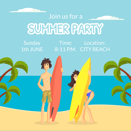 Summer Party Banner Template, Happy People Standing with Surfboards on Tropical Beach Vector Illustration Illustration