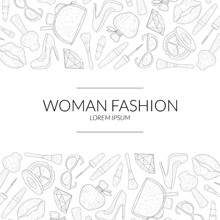 Woman Fashion Banner Template with Beauty Elements, Makeup Products, Cosmetics Hand Drawn Vector Illustration on White Background. Illustration