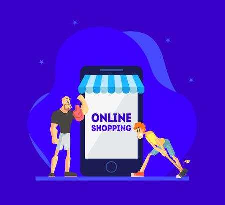 Online Shopping Concept, Men Standing Near Giant Smartphone with Their Purchases, People Using Smartphone for Purchasing at Mobile Store Vector Illustration