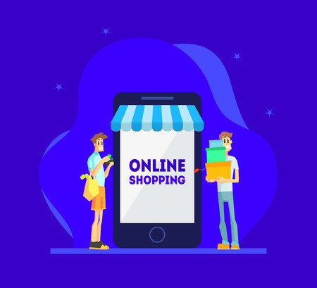 Online Shopping Concept, Men Standing Near Giant Smartphone, People Using Smartphone for Purchasing at Mobile Store Vector Illustration