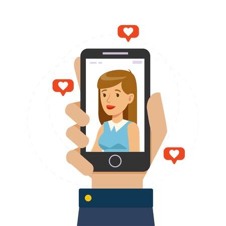 Beautiful Girl on Display of Smartphone, Male Hand Holding Mobile Phone with Girlfriend on Screen, Online Dating, Distance Relationship Vector Illustration Banque d'images - 121734227