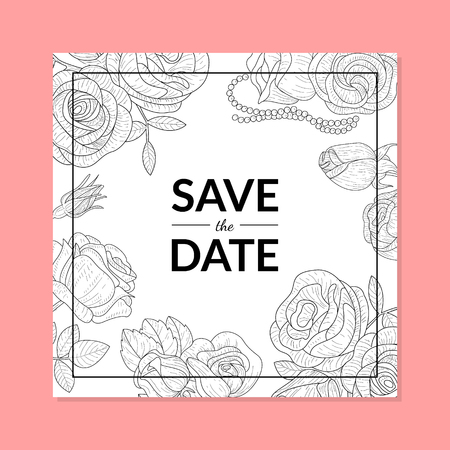 Save The Date Invitation Card Template with Hand Drawn Flowers Vector Illustration, Web Design