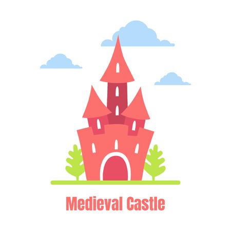 Medieval Castle, Cute Fortress on Summer Landscape Vector Illustration Illustration
