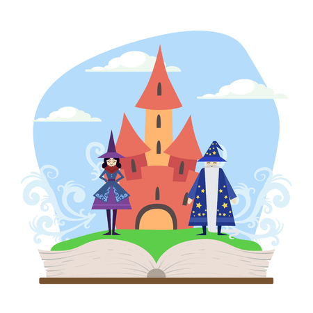 Opened Book with Magic Fairytale Castle, Wizard and Witch Vector Illustration