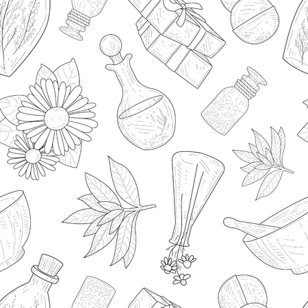 Natural Cosmetics Seamless Pattern, Eco Organic Cosmetic Elements Hand Drawn Vector Illustration Çizim