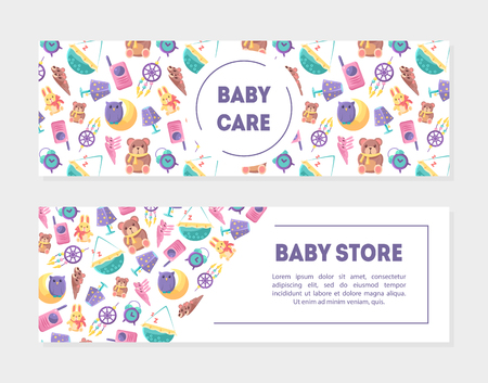 Baby Carem Baby Store Banner Templates with Cute Toys and Care Supplies Set, Design Element with Place for Text, Can Be Used for Landing Page, Mobile App, Flyer, Gift Card Vector Illustration