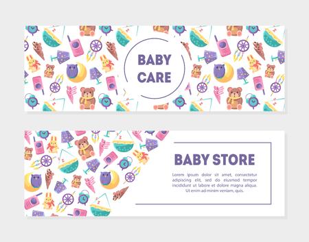 Modèles de bannière de magasin de bébé Carem avec des jouets mignons et des fournitures de soins, élément de conception avec place pour le texte, peut être utilisé pour la page de destination, application mobile, flyer, illustration vectorielle de carte-cadeau
