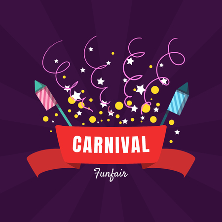 Carnival Funfair Banner Template, Amusement Park Poster, Design Element Can Be Used for Invitation Card, Flyer, Coupon Vector Illustration, Web Design  イラスト・ベクター素材