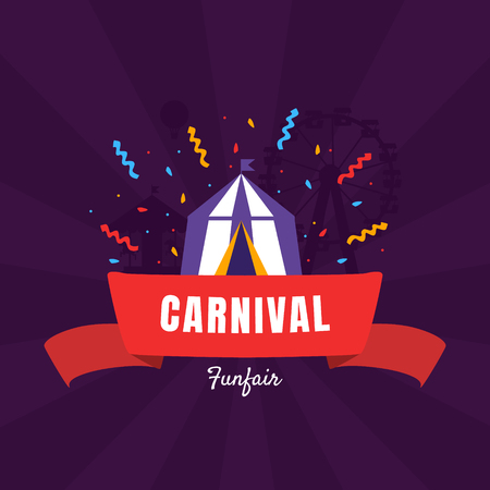 Carnival Funfair Banner Template with Circus Tent, Amusement Park Poster, Design Element Can Be Used for Invitation Card, Flyer, Coupon Vector Illustration, Web Design
