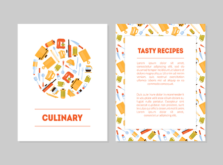 Culinary, Tasty Recipes Banner Templates Set, Cards with Place for Text and Kitchen Utensils for Food Preparation, Label, Branding Identity, Certificate, Flyer Vector Illustration 向量圖像