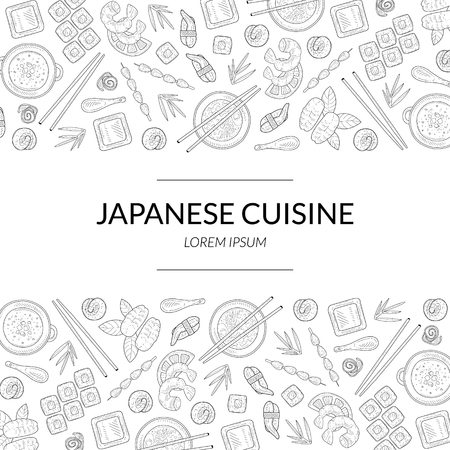 Japanese Cuisine Banner Template with Asian Food Menu Hand Drawn Pattern, Card Template For Restaurant or Cafe Menu Vector Illustration on White Background. Archivio Fotografico - 122805581
