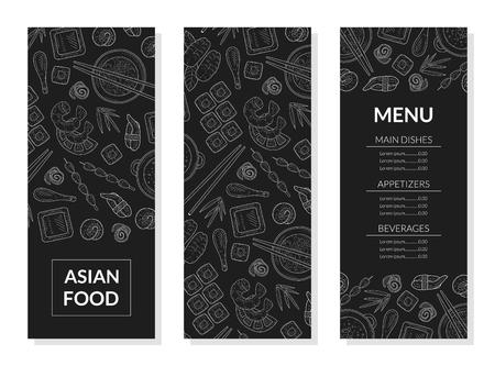 Plantilla de menú de comida asiática, platos principales, aperitivos, bebidas de la cocina japonesa, ilustración de vector de elemento de diseño de menú de restaurante o cafetería