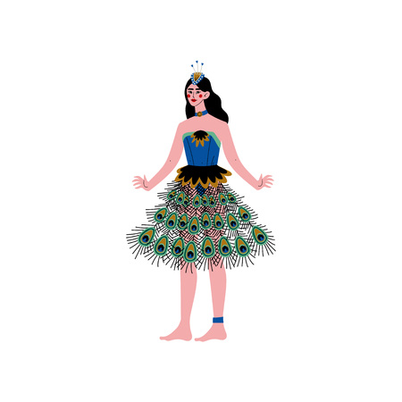 Beautiful Young Brunette Woman Wearing Elegant Peacock Feather Dress Vector Illustration on White Background. Illustration