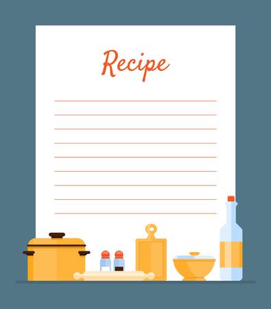 Livre de recettes de recettes décoré avec des ustensiles de cuisine, carte avec des lignes pour l'illustration vectorielle de placement de recettes, conception de sites Web