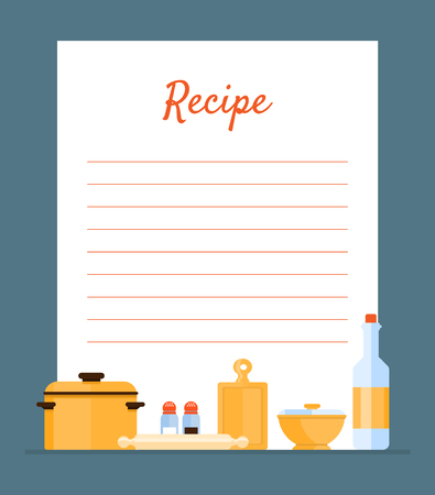 Recipe Cookbook Decorated with Kitchen Tools, Card with Lines for Recipe Placement Vector Illustration, Web Design Illusztráció