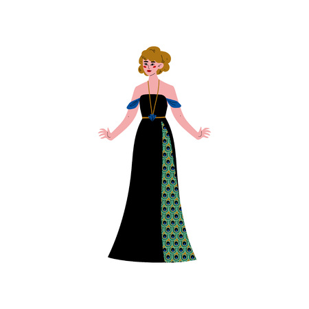 84144822817 Beautiful Woman Wearing Elegant Black Dress with Pattern of Peacock  Feathers Vector Illustration on White Background