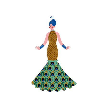 Beautiful Woman Wearing Elegant Dress Decorated with Peacock Feathers Ornament Vector Illustration on White Background.