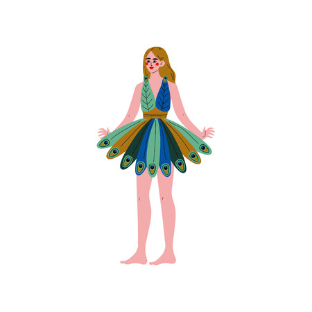 Beautiful Young Blonde Woman Wearing Short Peacock Feather Dress Vector Illustration on White Background.