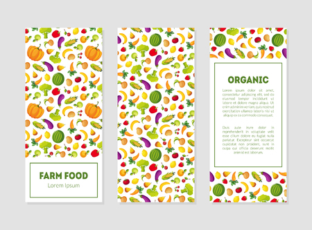Organic Farm Food Banner Templates Set with Fresh Fruits, Vegetables and Place for Text, Design Element can Be Used for Grocery Shop, Farm Market, Cafe Menu Vector Illustration