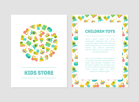 Kids Store Banner Templates with Cute Baby Toys and Place for Text, Design Element Can Be Used for Card, Label, Invitation, Certificate, Flyer, Coupon Vector Illustration Ilustracja