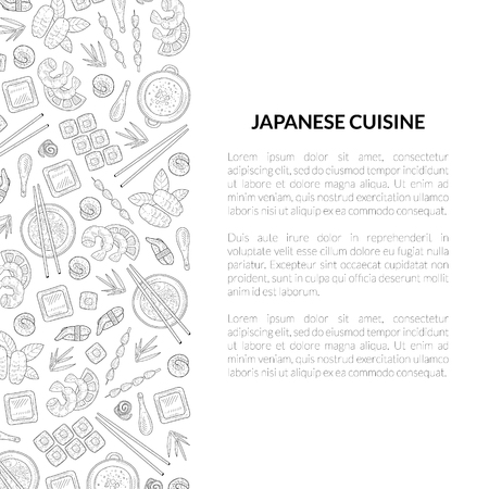 Japanese Cuisine Banner Template with Place for Text and Asian Food Hand Drawn Pattern, Card Template For Restaurant or Cafe Menu Vector Illustration on White Background. Archivio Fotografico - 122805594