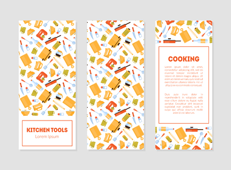 Kitchen Tools Banner Templates Set with Cooking Utensils Pattern and Place for Text Vector Illustration 向量圖像