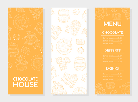 Chocolate House Menu Card Template, Chocolate, Desserts and Drinks, Restaurant, Cafeteria, Confectionery, Bakery Design Element Vector Illustration