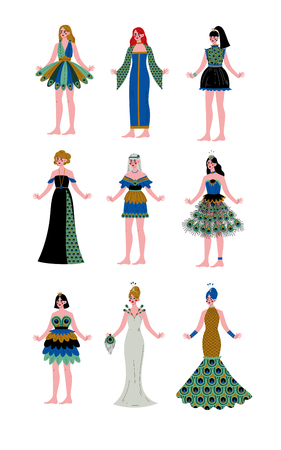 Collection of Beautiful Women Wearing Elegant Dresses Decorated with Peacock Feathers Vector Illustration on White Background.