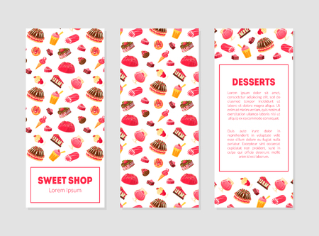 Sweet Shop Desserts Banner Templates Set with Tasty Sweets Pattern and Place for Text, Candy Store, Restaurant, Cafe, Confectionery, Bakery Design Element Vector Illustration