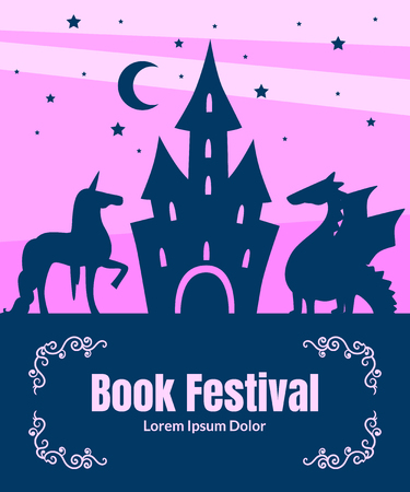 Book Festival Banner Template, Silhouette of Fairytale Magic Castle, Dragon and Unicorn on Sunset Background, Can Be Used for Invitation Card, Flyer, Poster, Label, Brochure Vector Illustration
