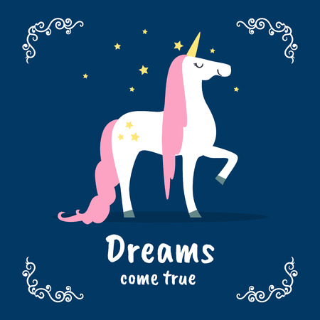 Dreams Come True Banner Template, Fairytale Magic Unicorn on Dark Blue Background, Design Element Can Be Used for Invitation Card, Flyer, Poster, Label, Brochure Vector Illustration Illustration