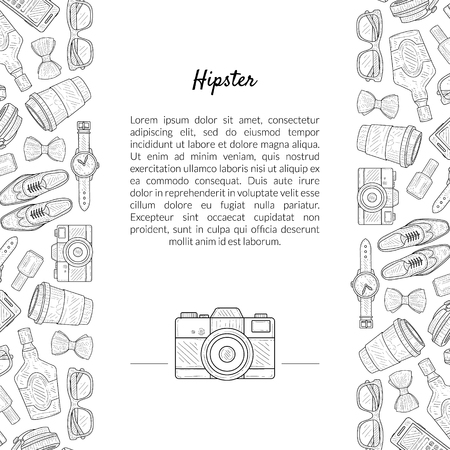 Hipster Banner Template with Place for Text and Gentleman Accessories Hand Drawn Pattern Vector Illustration