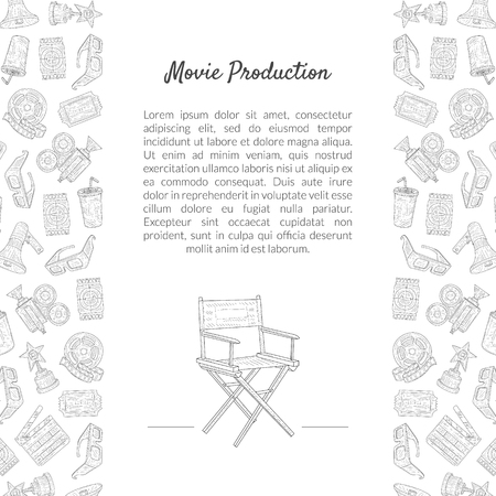 Movie Production Banner Template with Place for Text and Cinema Industry Symbols Hand Drawn Pattern Vector Illustration