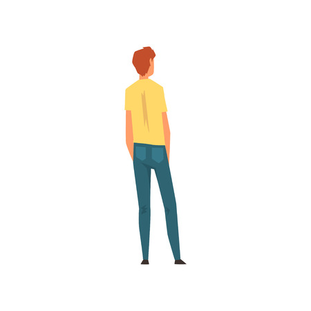 Man Wearing Jeans and Yellow T-shirt Standing with Hands in Pockets, View From the Back Vector Illustration on White Background.