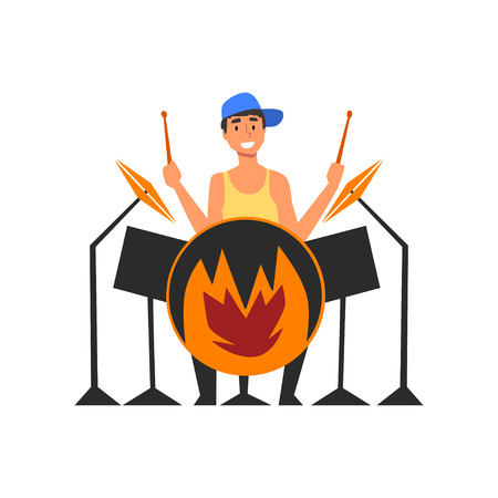Male Drummer Playing Drums, Man Sitting Behind Drum Kit at Open Air Concert, Rock Fest, Outdoor Summer Music Festival Vector Illustration on White Background.