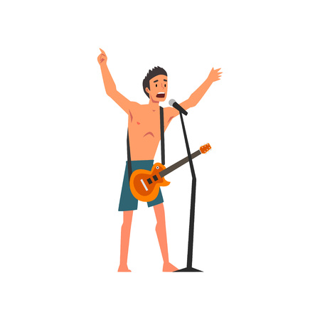 Male Rock Musician Playing Guitar and Singing with Microphone at Open Air Concert, Rock Fest, Outdoor Summer Music Festival Vector Illustration