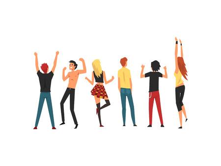 Gente bailando y divirtiéndose al aire libre en conciertos al aire libre, Rock Fest, Festival de música de verano al aire libre, vista desde la parte posterior de la ilustración vectorial sobre fondo blanco. Ilustración de vector