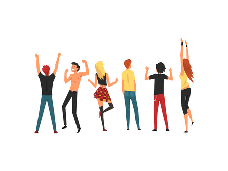 People Dancing and Having Fun Outdoor at Open Air Concert, Rock Fest, Outdoor Summer Music Festival, View From the Back Vector Illustration on White Background.