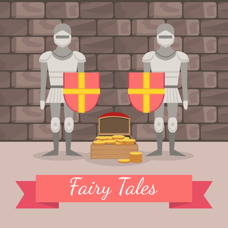 Medieval Knights in Armour Guarding the Chest of Gold, Fairy Tales Banner Template, Design Element Can Be Used for Invitation Card, Flyer, Poster, Label, Brochure Vector Illustration