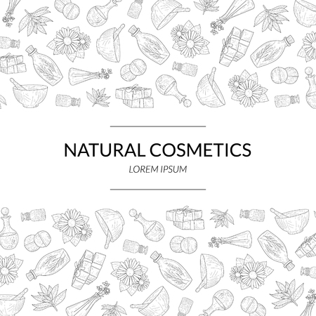 Natural Cosmetics Banner Template, Eco Organic Beauty Care Products Hand Drawn Pattern, Design Element Can Be Used for Packaging, Branding Identity, Brochure Vector Illustration
