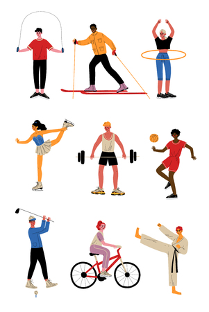 Collection of People Doing Different Kinds of Sports, Female and Male Professional Athletes Characters in Sportswear, Active Healthy Lifestyle Vector Illustration Illustration