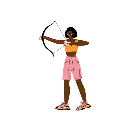Young Woman with Bow and Arrow, African American Athlete Character Practicing in Archery, Active Healthy Lifestyle Vector Illustration on White Background.